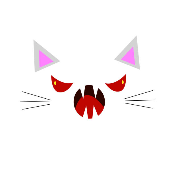face of an angry cat with red evil eyes open mouth and sharp fangs vector art illustration