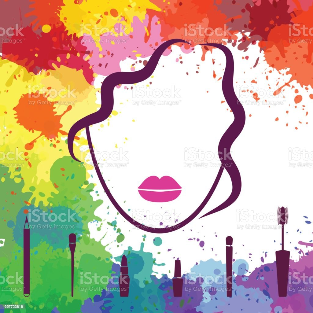 Face of beautiful girl. Makeup artist. Fashion icon. Woman face. Logo template. Make up elements vector art illustration