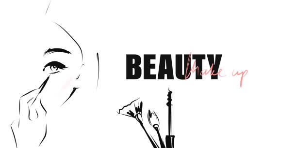 bildbanksillustrationer, clip art samt tecknat material och ikoner med ansikte av vacker ung kvinna med smink. makeup artist verktyg. handritade och kalligrafiska designelement på temat skönhet - makeup artist