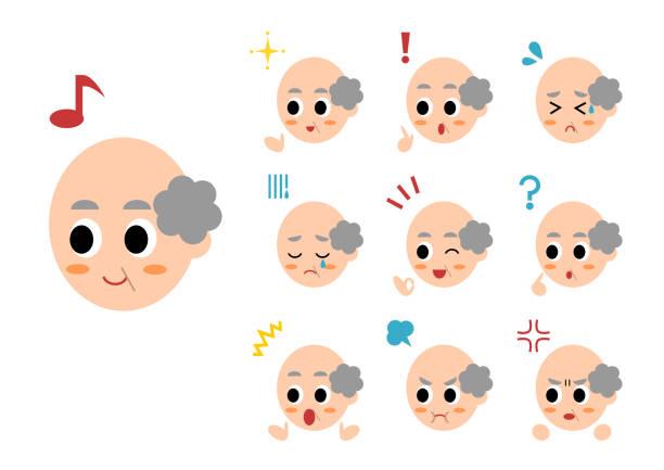 face of elderly man - old man crying clip art stock illustrations, clip art, cartoons, & icons