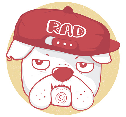 face of grumpy bulldog wear baseball cap with RAD text, drawing outline in red color vintage style, great idea for kid, child, tshirt design, apparel and greeting card, printable stuff