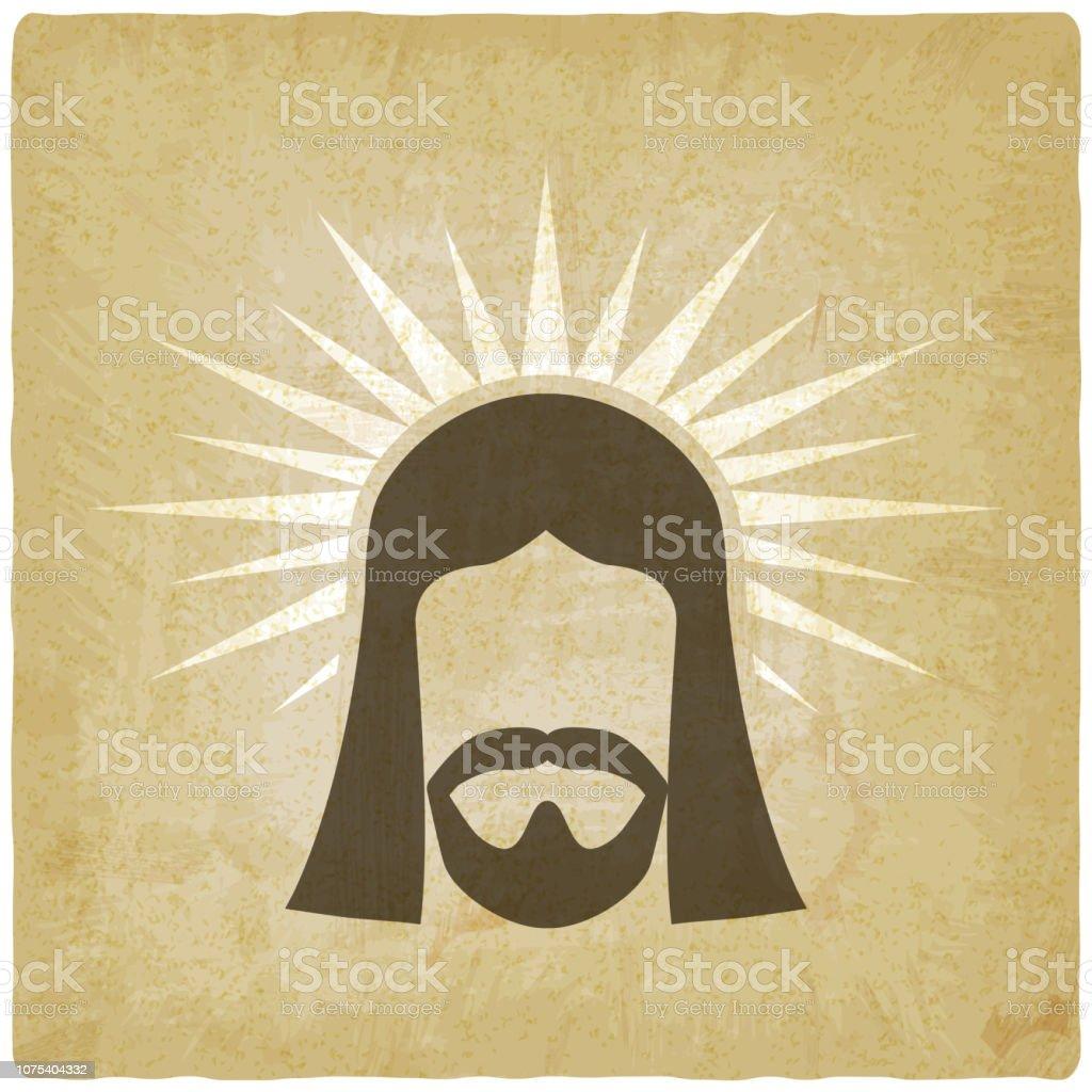 Face of Jesus Christ vintage background. vector illustration - eps 10