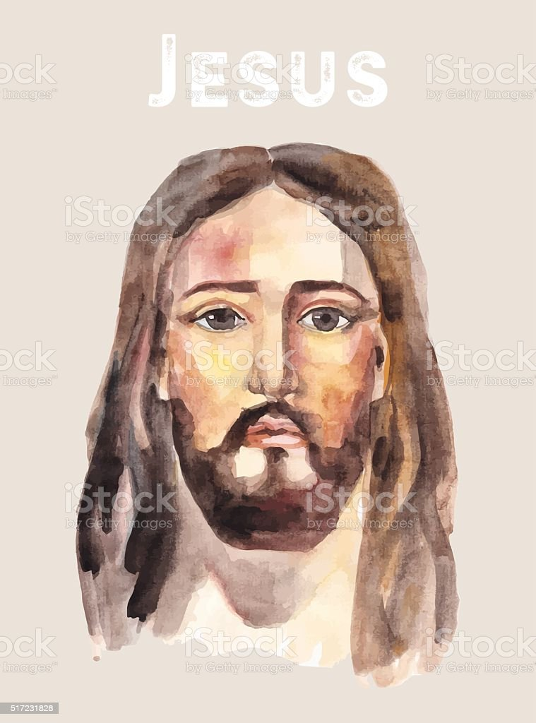 Face of Jesus Christ, watercolor vector illustration. vector art illustration