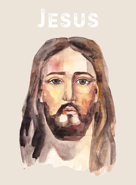 ilustrações de stock, clip art, desenhos animados e ícones de cara de jesus cristo, aguarela ilustração vetorial. - jesus cristo