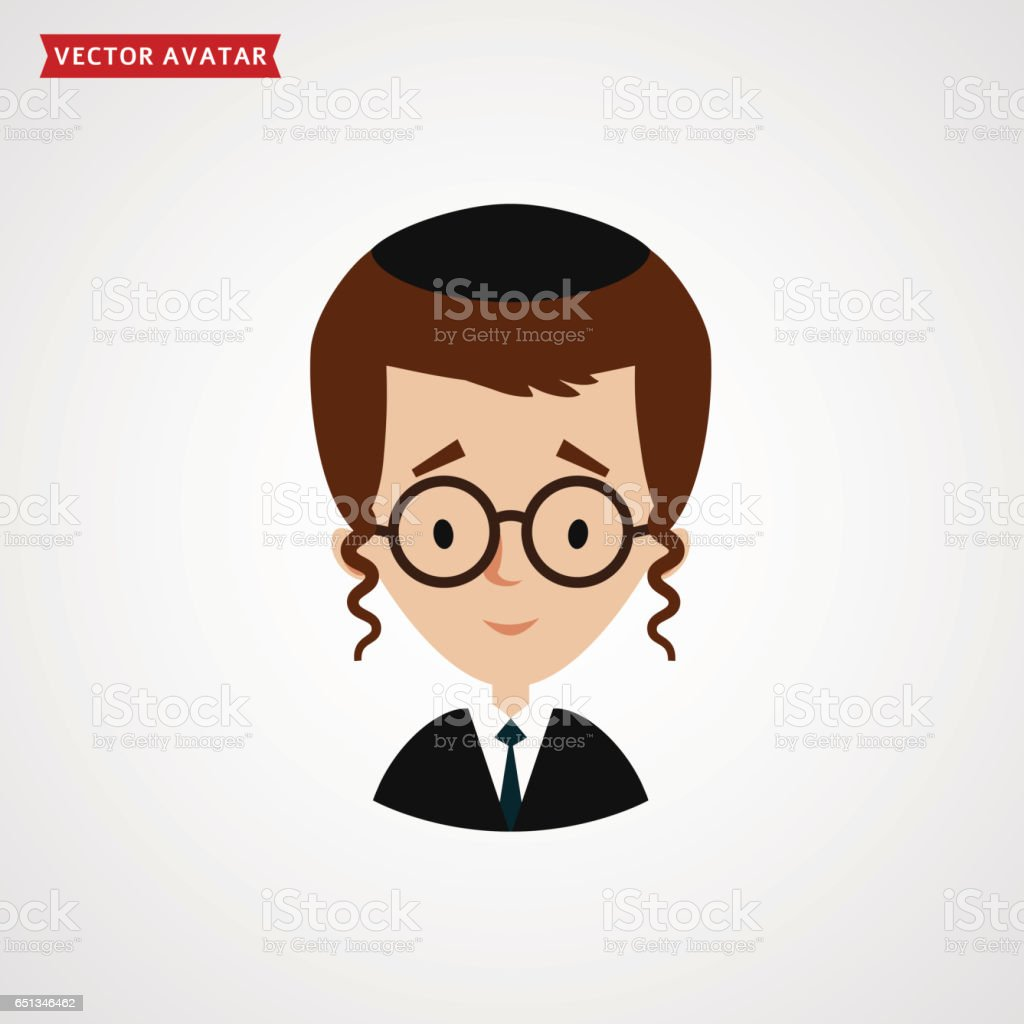 Face of jew boy. Cute vector avatar. vector art illustration