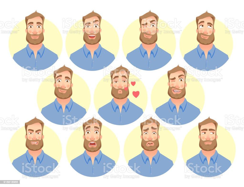 face of man - set vector art illustration