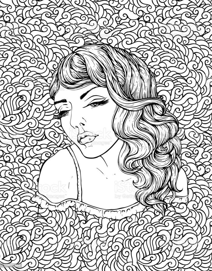 Ilustración de Cara De Niña Boho Muy Elegante En Fondo De Doodle ...