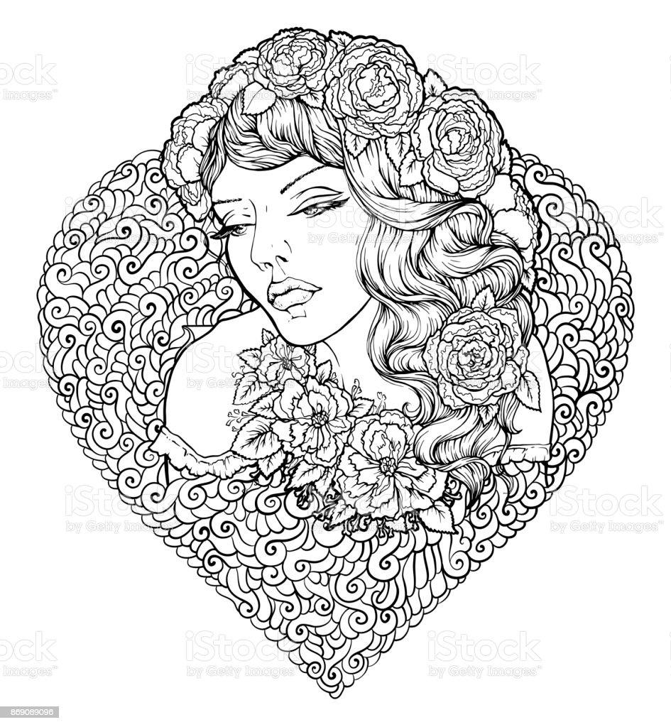 Ilustración de Cara De Niña Bonita Elegante Boho Con Marco En Forma ...