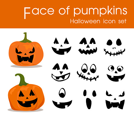 Face of pumpkins Halloween icon set vector.