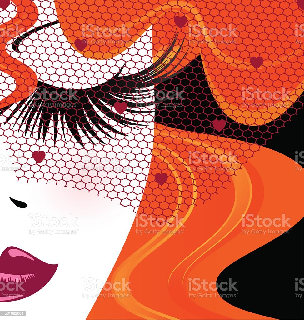 face of red-haired girl with red veil vector art illustration