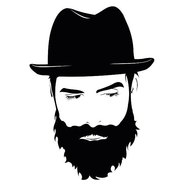 stockillustraties, clipart, cartoons en iconen met face of serious bearded man with hat looking down - wegkijken