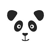 Face of smiling panda with fluffy ears. Print, logo, sketch.