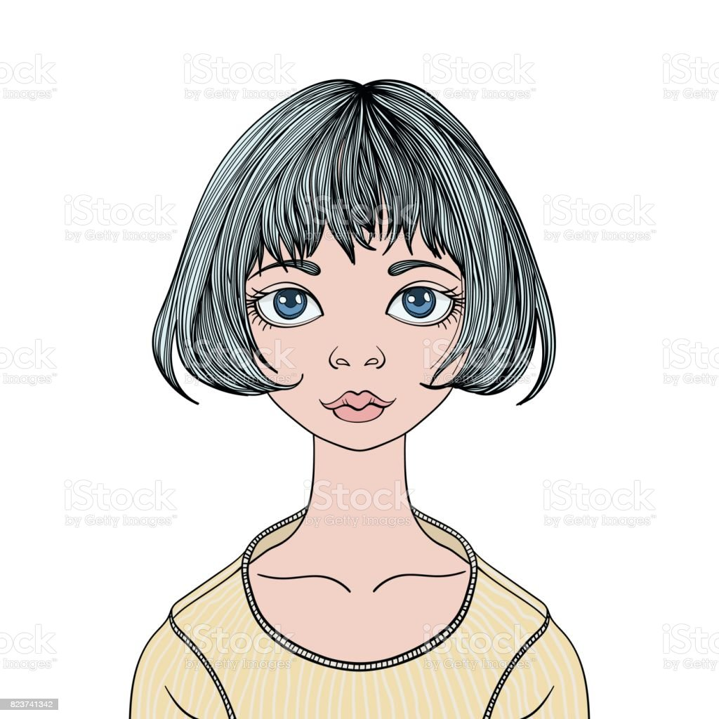 Face of young cute girl with big eyes and haircut caret. Vector female portrait illustration, isolated on white background. vector art illustration