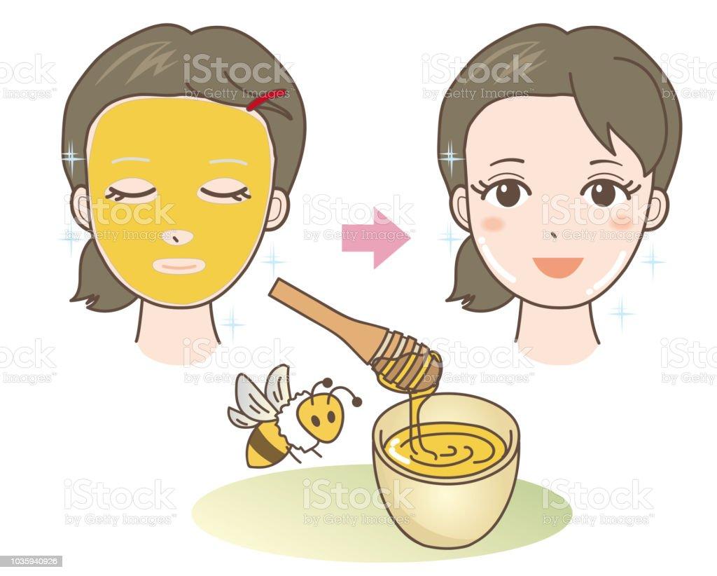 Gesichtsmaske - Honig - Naturmaterialien – Vektorgrafik