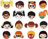 Face paint kids vector children portrait with facial painted mak