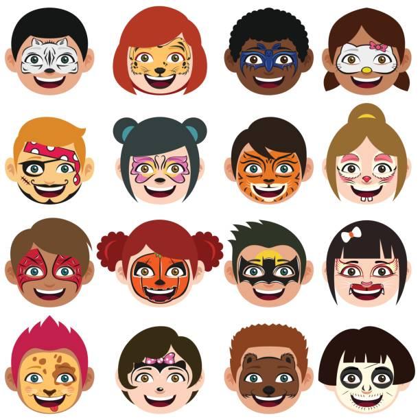 Face Painted Kids Illustration vector art illustration