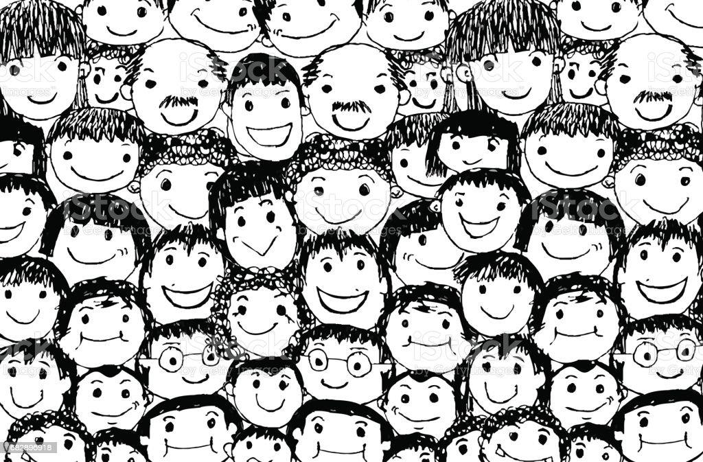 Gesicht Menschen Skizze Menge lustige Völker der Lizenzfreies gesicht menschen skizze menge lustige völker der stock vektor art und mehr bilder von comic - kunstwerk