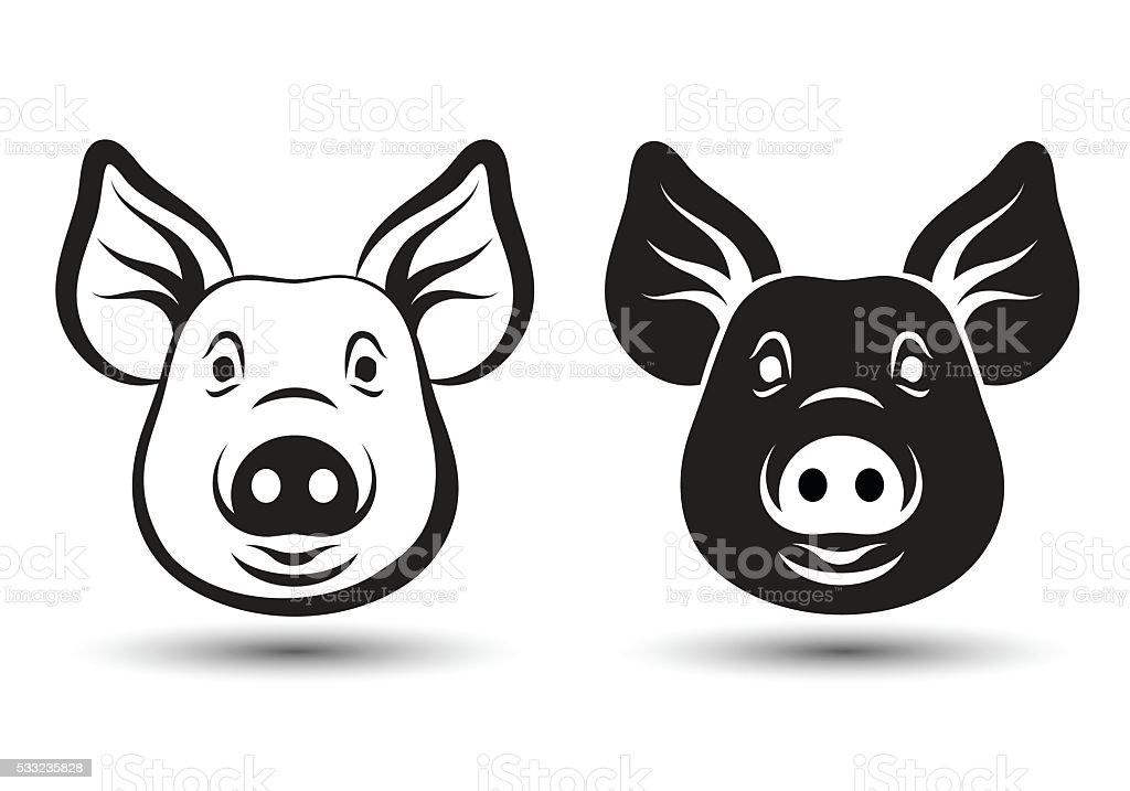 Face Pig vector art illustration