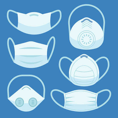 Face pollution mask. Medical masks smog dust protection health disease cough danger breath protective devices allergy flat vector set