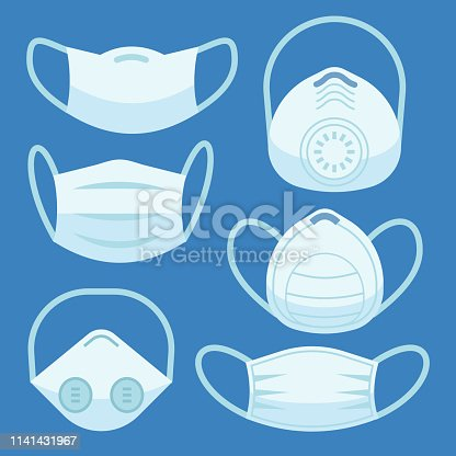Face pollution mask. Medical masks smog dust pm2.5 danger protection or health disease cough breath protective devices allergy for hospital flat vector set