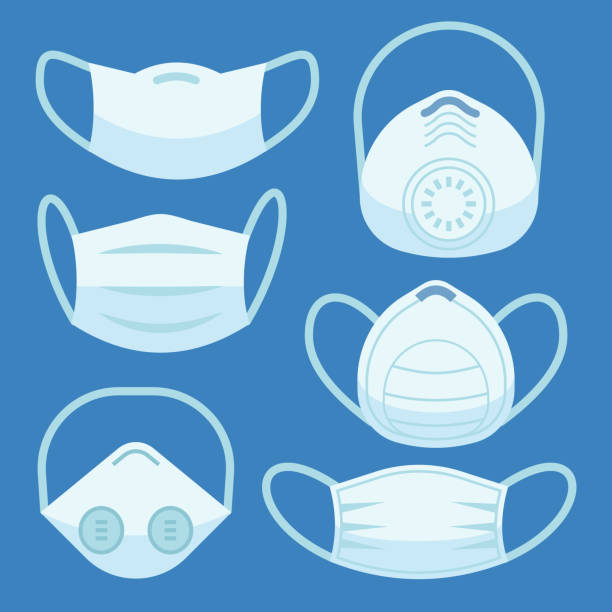 ilustrações de stock, clip art, desenhos animados e ícones de face pollution mask. medical masks smog dust protection health disease cough danger breath protective devices allergy flat vector set - máscaras