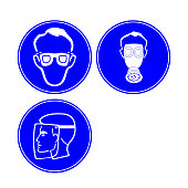 Face Protection Sign of Precautionary Pictogram