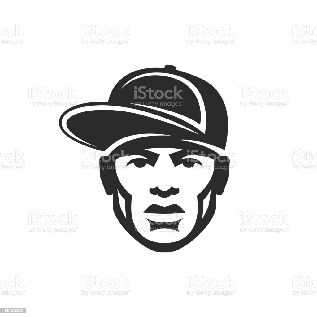 Face Rapper Man In A Cap Hip Hop Icon Stock Vector Art   More Images ... 0ec4aa0fc313