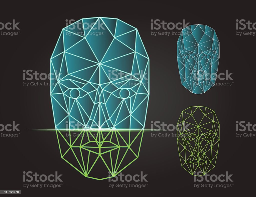 Face recognition and scanning - biometric security system. Vector illustration vector art illustration
