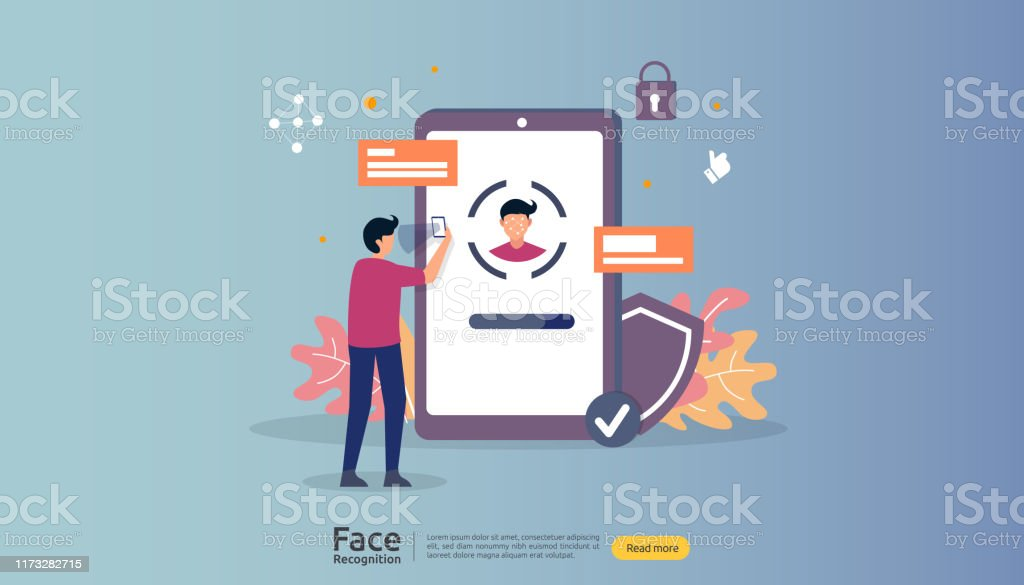 Face Recognition Data Security Design Facial Biometric Identification System Scanning On Smartphone Web Landing Page Template Banner Presentation Social Poster Ad Promotion Or Print Media Stock Illustration Download Image Now Istock