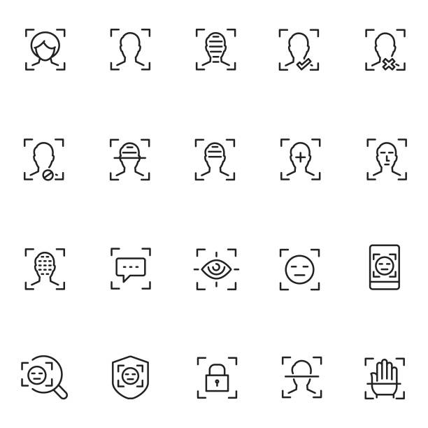 Face recognition icon set Face recognition icon set biometrics stock illustrations