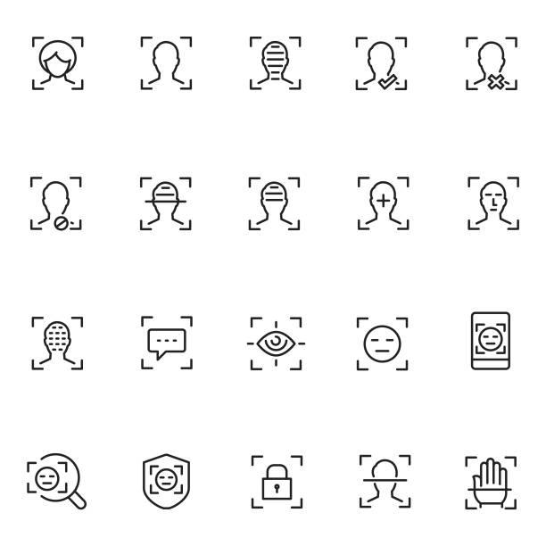 얼굴 인식 아이콘 세트 - 신분 stock illustrations