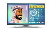 Face Recognition, Identification System Vector. Face Recognition Technology. Arab Face On Screen. Human Face With Polygons And Points. Scanning Security Illustration