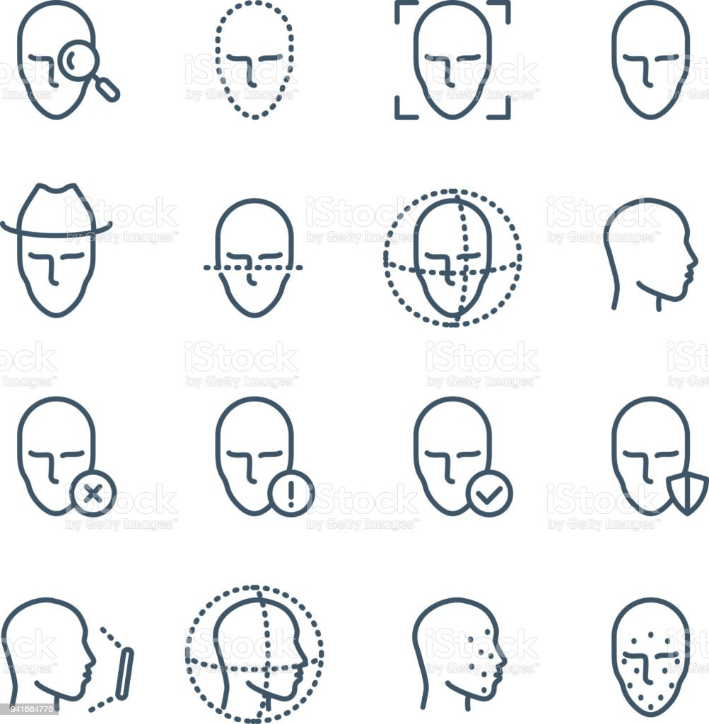 Face recognition line icons. Faces biometrics detection, facial scanning and unlock system vector pictograms vector art illustration