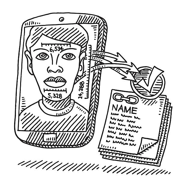 face recognition smart phone technology drawing - facial recognition stock illustrations