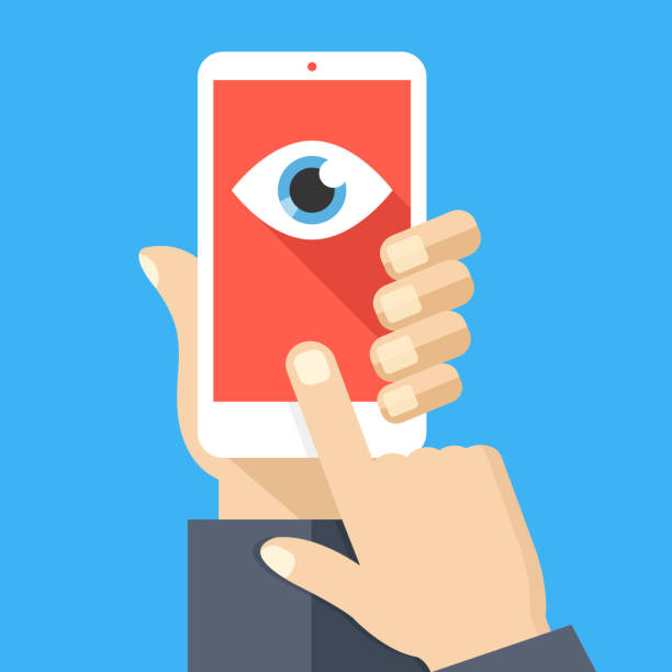 ilustrações de stock, clip art, desenhos animados e ícones de face recognition, surveillance concepts. hand holding smartphone, cellphone, finger touching screen. mobile phone with eye icon on screen. flat design. vector illustration - big brother