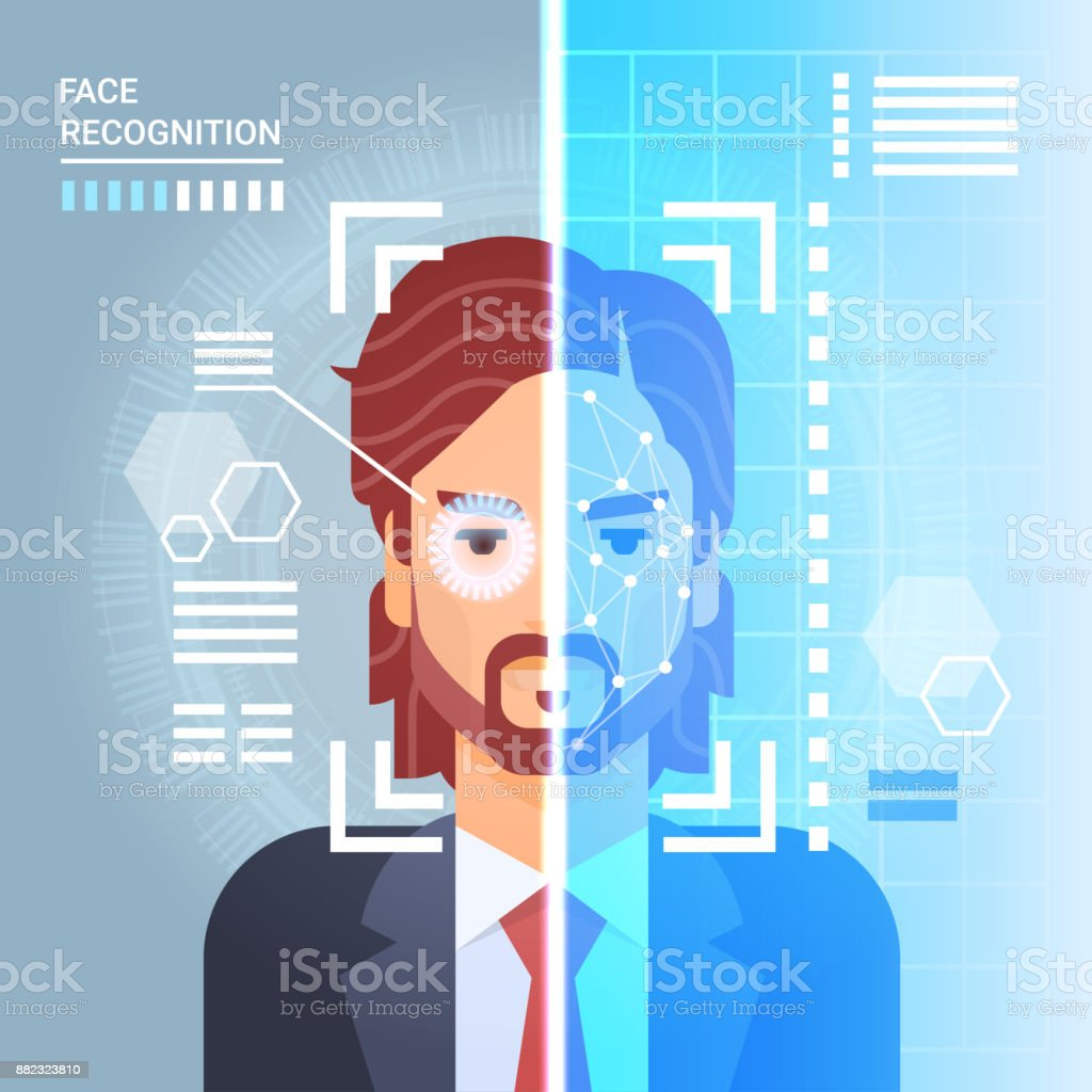 Face Recognition System Scanning Eye Retina Of Business Man Modern Identification Technology Access Control Concept vector art illustration