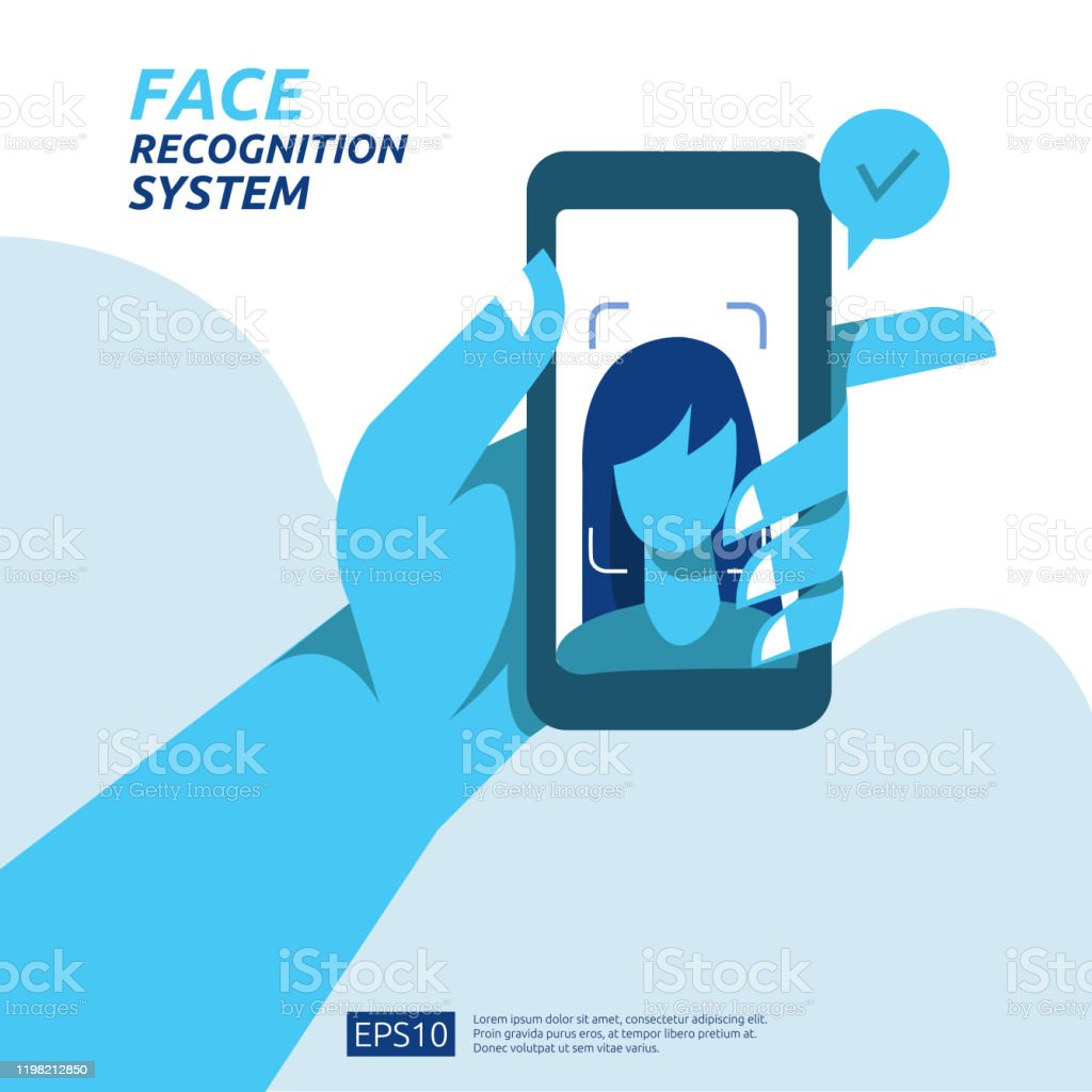Face Recognition System Scanning On Smartphone Facial Biometric Data Identification Security Web Landing Page Template Banner Presentation Social Poster Ad Promotion Or Print Media Stock Illustration Download Image Now Istock