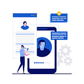 Face recognition technology concept with character. People stand near smartphone with biometric facial identification. Modern flat style for landing page, mobile app, infographics, hero images.