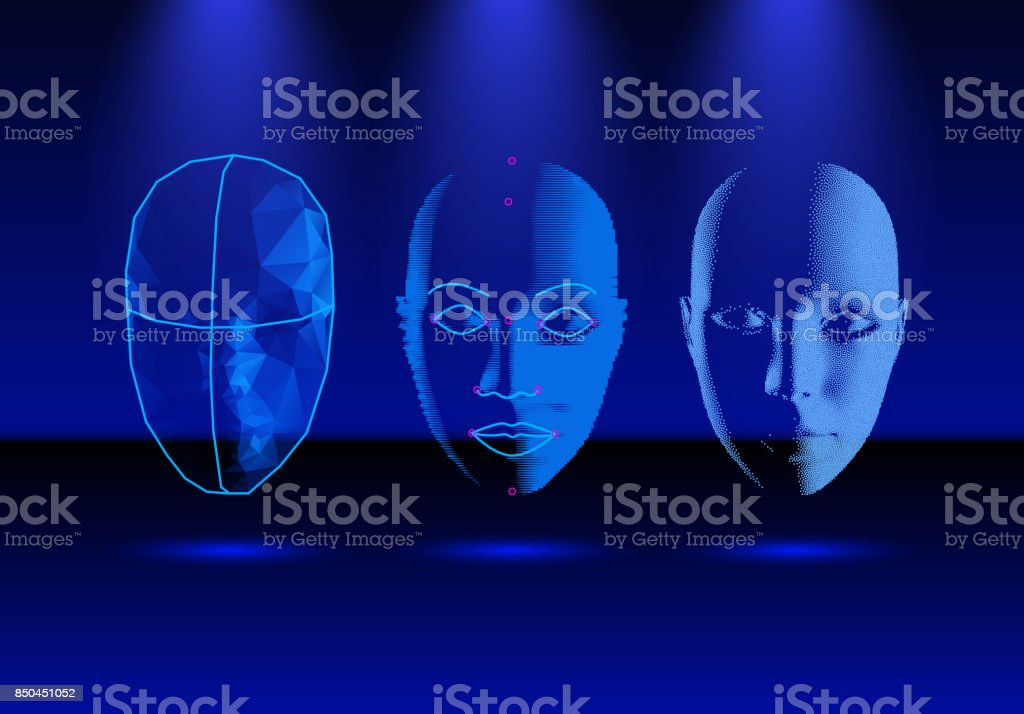 Face recognition technology in progress, from old science to modern smartphone verification vector art illustration