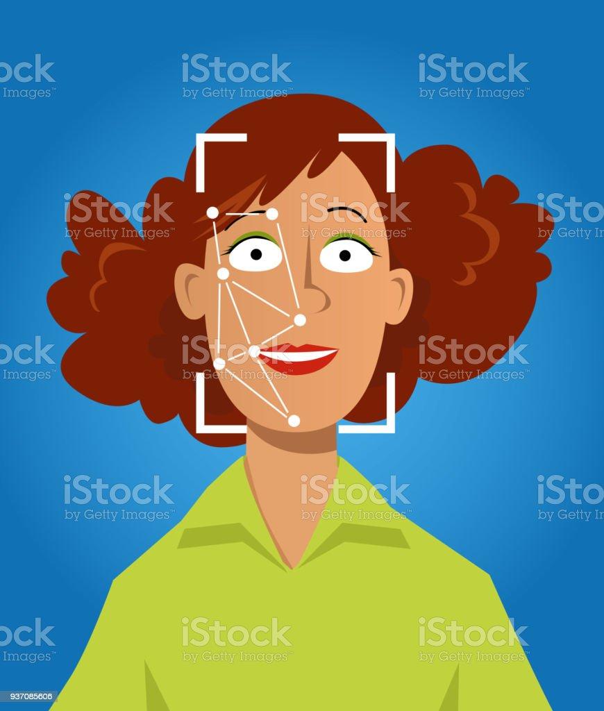 Face recognition vector art illustration