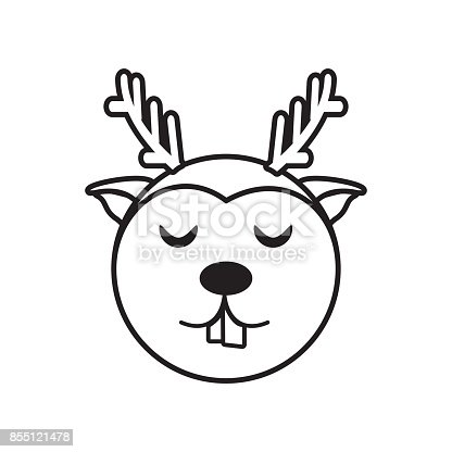 face reindeer animal outline stock vector art more images of