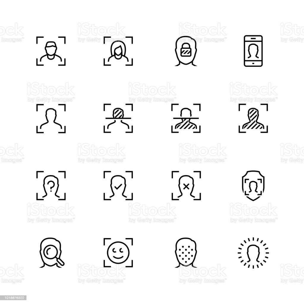 Face scanning and recognition vector icon set in outline style