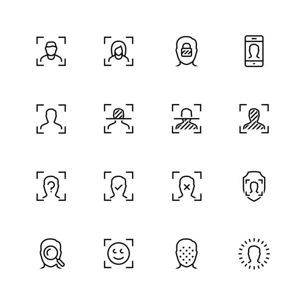 Face scanning and recognition vector icon set in outline style Face scanning and recognition vector icon set in outline style biometrics stock illustrations