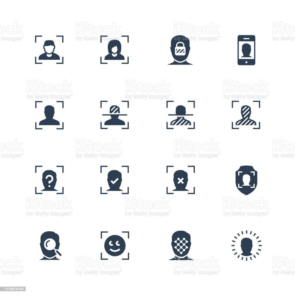Face scanning and recognition vector icon set vector art illustration