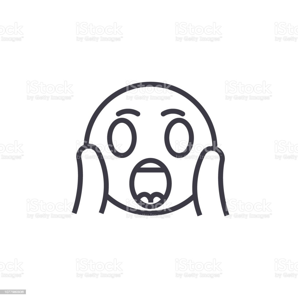 Face Screaming Emoji concept line editable vector, concept icon. Face Screaming Emoji concept linear emotion illustration vector art illustration
