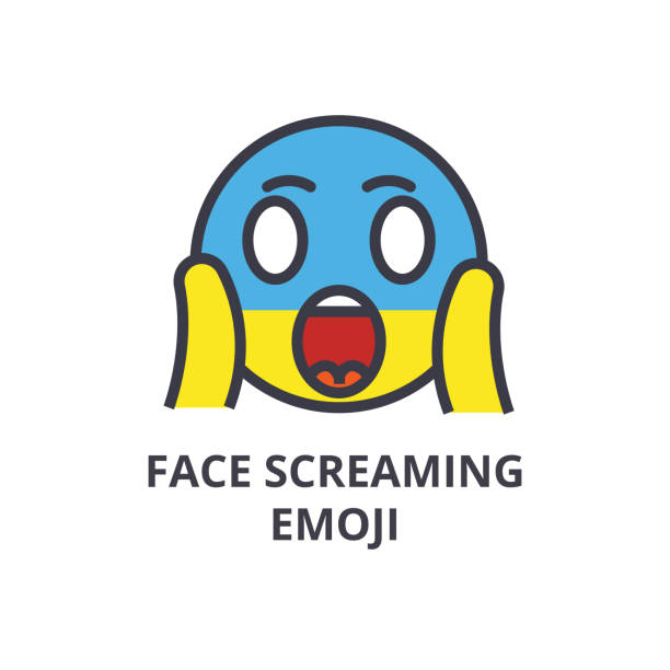 face screaming emoji vector line icon, sign, illustration on background, editable strokes vector art illustration