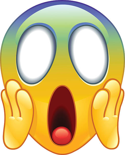 face screaming in fear emoticon - surprise stock illustrations