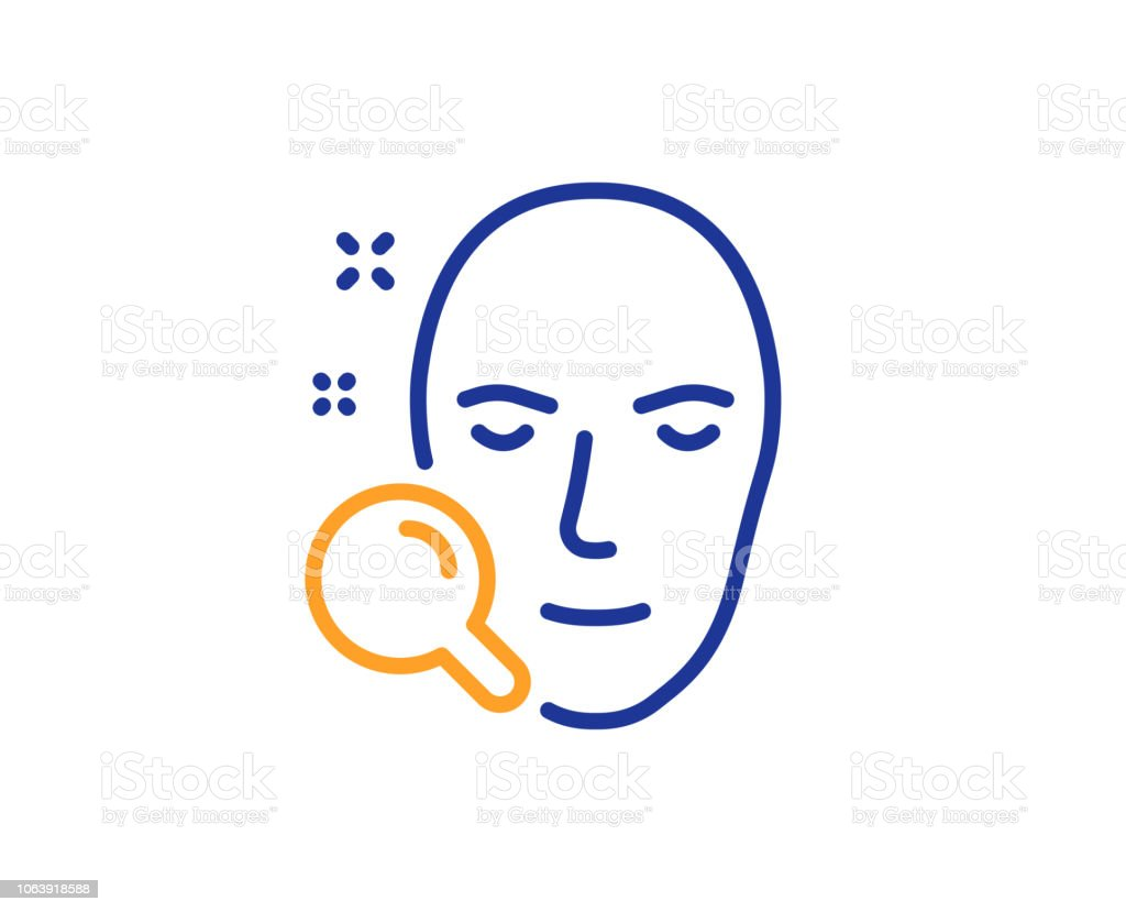 Face Search Line Icon Head Recognition Sign Vector Stock