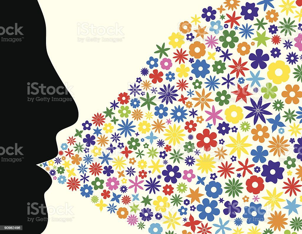 Face silhouette blowing flowers royalty-free stock vector art