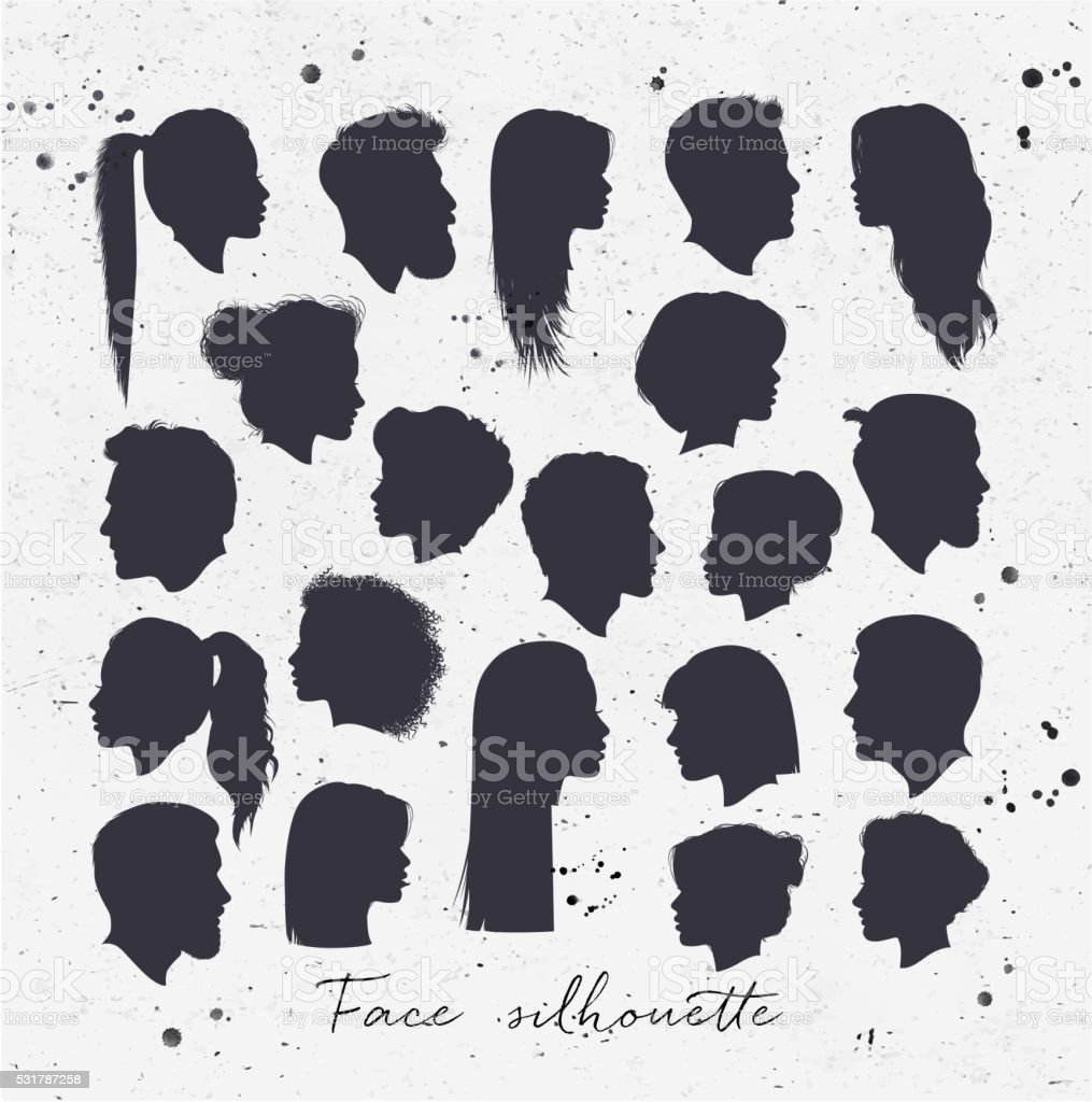 Face silhouettes vector art illustration